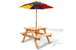 Kids Wooden Picnic Table Set with Umbrella - Brand New - Free Shipping