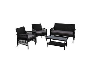 Outdoor Furniture Rattan Set Wicker Cushion 4pc Black