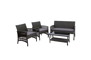 Outdoor Furniture Rattan Set Wicker Cushion 4pc Dark Grey