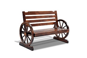 Wooden Wagon Wheel Bench - Brown - Brand New - Free Shipping