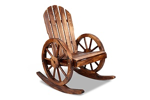 Wagon Wheels Rocking Chair - Brown - Brand New - Free Shipping