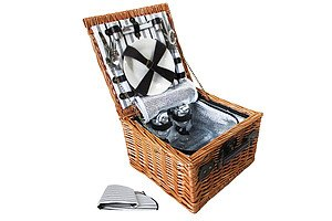 2 Person Picnic Basket Set with Cooler Bag Blanket - Brand New - Free Shipping