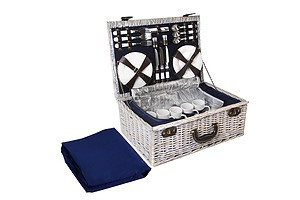 6-Person Picnic Basket Cooler Bag Wicker PU Fastening Straps Plates - Brand New - Free Shipping