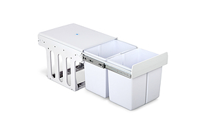 Set of 2 15L Twin Pull Out Bins - White - Free Shipping