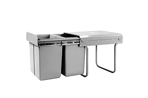 Set of 2 20L Twin Pull Out Bins - Grey - Brand New - Free Shipping