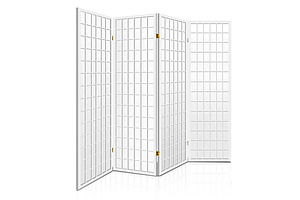 4 Panel Wooden Room Divider - White - Free Shipping