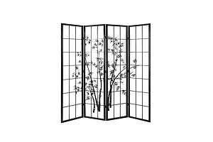4 Panel Room Divider Screen Privacy Dividers Pine Wood Stand Shoji Bamboo Black White - Brand New - Free Shipping