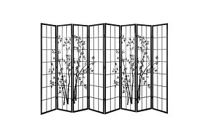 8 Panel Room Divider Screen Privacy Dividers Pine Wood Stand Shoji Bamboo Black White - Brand New - Free Shipping