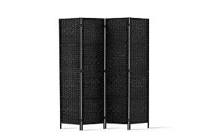 4 Panel Room Divider Privacy Screen Rattan Woven Wood Stand Black - Brand New - Free Shipping