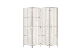 4 Panels Room Divider Screen Privacy Rattan Timber Fold Woven Stand White - Brand New - Free Shipping