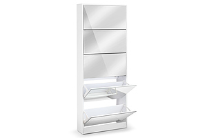 5 Drawer Mirrored Wooden Shoe Cabinet - White - Free Shipping