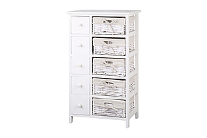 5 Basket Storage Drawers - White - Brand New - Free Shipping