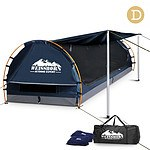 Double Camping Canvas Swag with Mattress and Air Pillow - Blue - Brand New