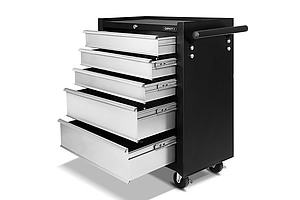 5 Drawers Roller Toolbox Cabinet Black Grey - Brand New - Free Shipping