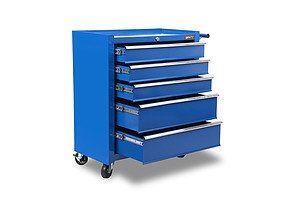5 Drawer Mechanic Tool Box Storage Trolley - Blue