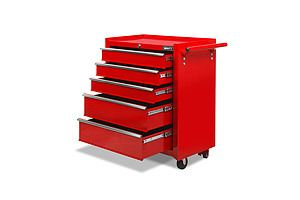 5 Drawers Tool Box Storage Trolley - Red - Free Shipping