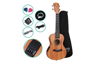 23 Inch Concert Ukulele Electric Mahogany Ukeleles Uke Hawaii Guitar with EQ - Brand New - Free Shipping
