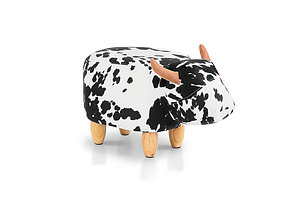 Kids Ottoman Foot Stool Toy Cow Chair Animal Foot Rest Fabric Seat White - Brand New - Free Shipping