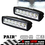 2x 6inch 18W LED Light Bar Driving Work Lamp Flood Truck Offroad UTE 4WD - Brand New