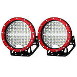 Pair 7inch 590w CREE Round LED Driving Lights Work Spotlights 12V 24V Red - Brand New + 'image'