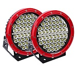 Pair 9inch 640w Cree LED Driving Light Red Spotlight Offroad HID 4x4 ATV - Brand New + 'image'