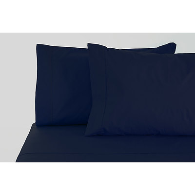 Jenny Mclean La Via Sheet Set 100% Cotton Queen 400Tc - Navy - Free Shipping - RRP: $179.95