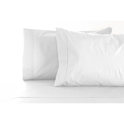 Jenny Mclean La Via Sheet Set 100% Cotton Queen 400Tc - White - Free Shipping - RRP: $179.95