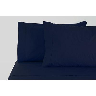 Jenny Mclean La Via Sheet Set 100% Cotton Single 400Tc - Navy - Free Shipping - RRP: $139.95