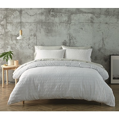 Jenny Mclean Seer Sucker Quilt Cover Sets King - White - Free Shipping - RRP: $199.95