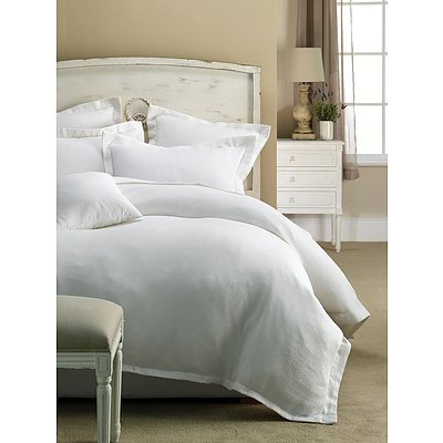 Paris waffle Quilt Cover Set Single - White - Free Shipping - RRP: $139.95
