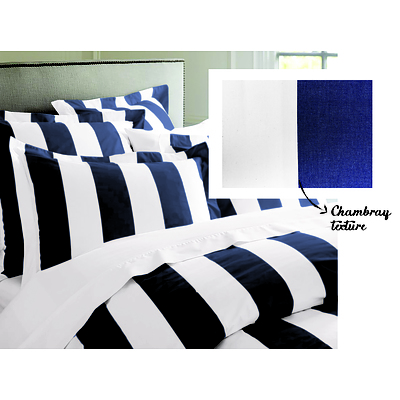Oxford Stripe Quilt Cover set Queen - Cobalt Blue - Free Shipping - RRP: $179.95