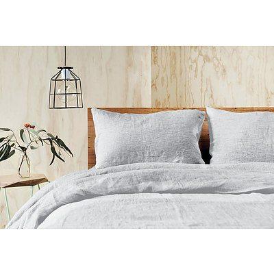 Doux Quilt Cover Set - Queen, 100% Linen - Grey - Free Shipping - RRP: $449.95