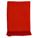 Hilton Waffle Throw 127x152cm 6cm fringes Red - RRP $50 - Brand New
