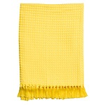 Hilton Waffle Throw 127x152cm 6cm fringes Yellow - RRP $50 - Brand New