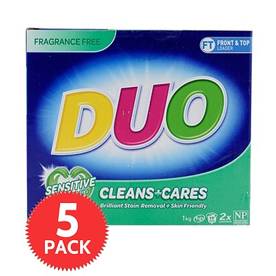 Duo Laundry Powder Cleans & Cares 1 Kg - 5 Pack - Brand New + ' image'