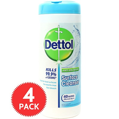 Dettol Surface Clean Wipes 40S - 4 Pack - Brand New + ' image'