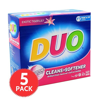 Duo Laundry Powder Cleans & Softener 1Kg - 5 Pack - Brand New + ' image'