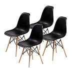 La Bella Replica Eames DSW Dining Chair - BLACK X4 - Brand New with 12 Months Warranty