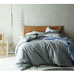 Silver Ash Linen Cotton Quilt Cover Set- Queen Bed